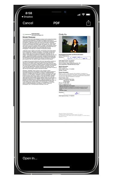 Model Release App : Easy Release : APPS